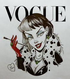 "Polubienia: 16.6 tys., komentarze: 322 – Alef Vernon (@alefvernonart) na Instagramie: ""Inktober N° 5 - Cruella De Vil, cover of Vogue... Who should be the Villain n°6? Ursula or…"""