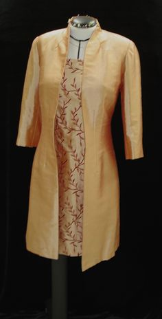 I made this ensemble from two complementary silk doupioni fabrics, lined with silk charmeuse.