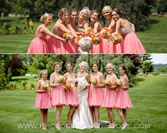Flirty bridesmaid dresses. Peach!