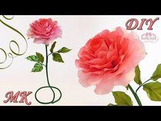 РОЗЫ ИЗ ЛЕНТ. Интерьерная роза своими руками МК/DIY - YouTube