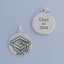 """""""Oxidized Sterling Silver Charm, CLASS OF 2014, Mortarboard on Reverse, 5/8 inch"""""""