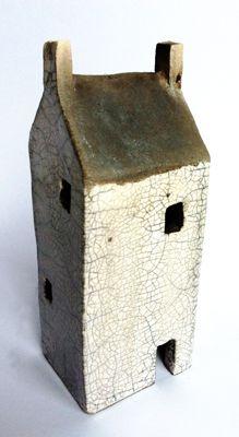 Raku ceramic house sculpture clay houses pottery raku art