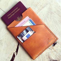 This leather case will protect and perfectly at all times your passport and identity documents. A slot is dedicated to passport size x a second location is available at x size, perfect to slide all your documents, French identity Leather Wallet Pattern, Leather Passport Wallet, Coin Purse Wallet, Leather Bags Handmade, Leather Craft, Crea Cuir, Leather Projects, Leather Design, Leather Cover