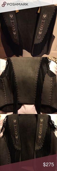 Leather blazer hand made-never worn Gray with tribal beading Jackets & Coats Vests