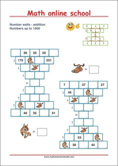 Number walls - Math Pyramids - Addition up to 1000