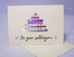Wedding cake card by QuillPaperScissors on Etsy