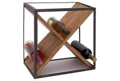 """16"""" Crossed Wine Rack. Cool Idea! Size: 15""""x11""""x16"""". X marks the spot: This is a sleek, simply way to beautifully display your favorite bottles.   Reg $110. Now $55.  OneKingsLane.com. 4/1/13"""