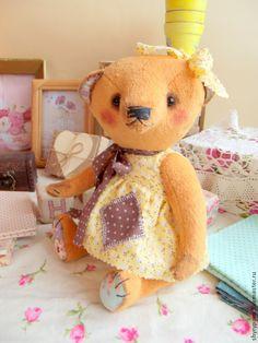 Дуся Шишкина - оранжевый,девочка,хлопковое платье,опилки,мишка тедди,Плюшевый мишка