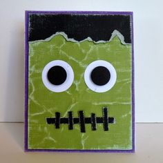 Idea shared by Amber Saunders = handmade Halloween card . green monster face fills the card . like the wrinkled and sanded Coordinations paper panel . Image Halloween, Halloween Fun, Diy Halloween Cards, Fall Cards, Holiday Cards, Monster Cards, Family Crafts, Thanksgiving Cards, Baby Kind