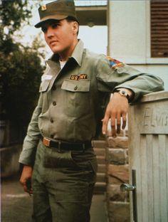 Elvis Presley in front of his rented house in Germany.