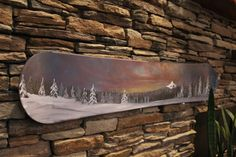 Painted Snowboard  Snowy Mountain Peak with by RenewedPassions, Snowboard Art for the adventurer! Acrylic painting on an actual snowboard. Upcycled.