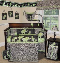 Animal Planet Lime  Boy or Girl Crib Nursery by xoxobabyboutique, $179.99