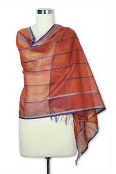 Cotton and silk shawl, 'Maheshwari Coral' - Hand Made Wrap Cotton Silk Blend…