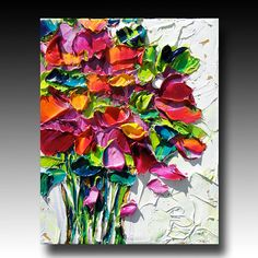 Painting B. Sasik Original Oil Painting Garden ART What's Art ? Acrylic Painting Flowers, Acrylic Art, Sculpture Painting, Painting & Drawing, Oil Painting Pictures, Texture Painting, Painting Inspiration, Flower Art, Watercolor Art