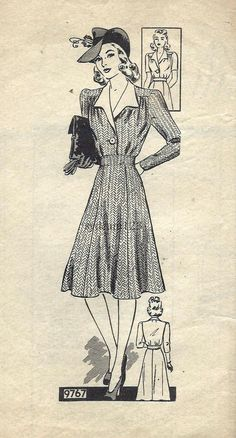 Vintage 1940s Single Button Coat Dress...Wing Collar by sydcam123, $20.00