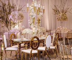 White & Gold Luxury Wedding Decor Inspiration All White Wedding, Rose Wedding, Clear Chairs, White Wisteria, Luxury Wedding Decor, Wedding Decorations, Table Decorations, Event Design, Wedding Table