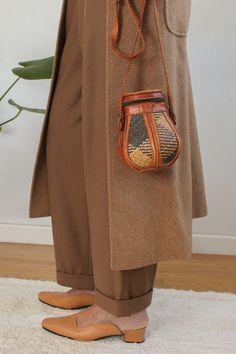 Image of Wicker/leather shoulder bag