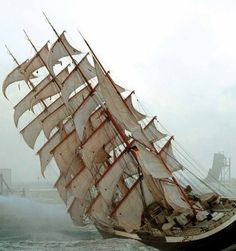 HARD OVER! 'Pamir' a four-masted barque, was one of the famous Flying P-Liner sailing ship. Old Sailing Ships, Black Sails, Wooden Ship, Sail Away, Set Sail, Wooden Boats, Tall Ships, Catamaran, Water Crafts