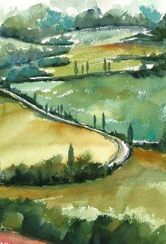 """Tuscany Hills"" 2015 (c) stefania boiano #watercolour #landscape #abstract #art"