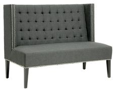 Baxton Studio Owstynn Modern Banquette Bench - Gray Linen - Indoor Benches at Hayneedle