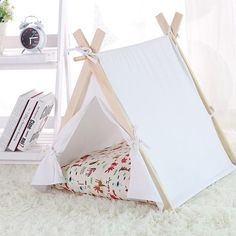 SALE! Dog Cat House pet tent bed mosquito  private space  Pet Products  Play tent with Poles pet tipi with poles, teepee, tepee, wigwam pad