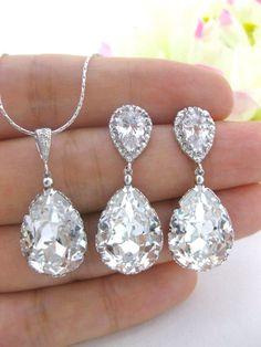 Swarovski Crystal Clear White Teardrop Earrings & Necklace Set Wedding Jewelry Bridesmaid Gift Bridal Earrings Bridesmaid Earrings (NE031):