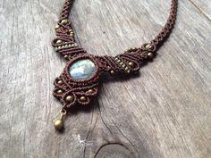 Micro macrame necklace labradorite stone boho by creationsmariposa