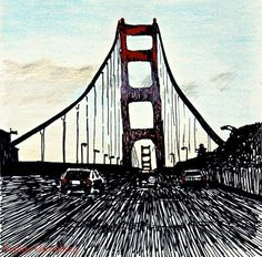 Poster Print of Ink and Colored Pencil Drawing: Golden Gate Bridge, 12x18. $17.00, via Etsy by Sophie Greenberg