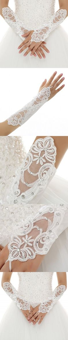 OYISHA Women's Fingerless Lace Glove Elbow Length Beaded Wedding Gloves White