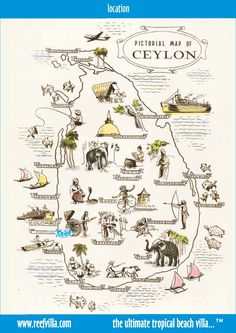 Pictorial map of Ceylon (Sri Lanka)