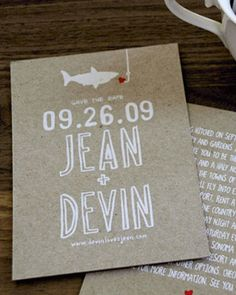 This real couple's save-the-date featured an illustration of a shark, to hint at the couple's soon-to-be-shared last name, Sharkey.