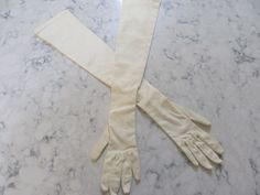 """VINTAGE 1950's """" Made in Western Germany""""-- 22""""- Ivory Stretch Opera Length Gloves--Silver Tone Buttons-- Size 6 1/2--Glove Auction # 360 by PrimaMona on Etsy"""