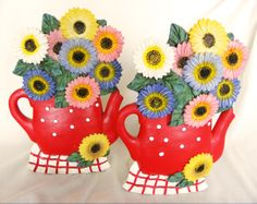 Collectible Ceramic Flower Bookends Red Tea Pots 1940s