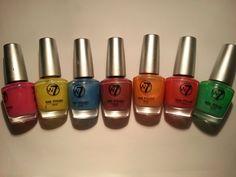 W7: Pearlescent Neon Pink, Yellow, Blue, Purple, Orange, Red and Green. Used one full mani. £0.25/ea Orange Red, Pink Yellow, Purple, Blue, Nail Polish Sale, Sale Uk, Nespresso, Lipstick, Nails