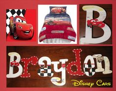 Disney Pixar Cars Hand Painted Boys Wooden Wall Letters Lightning McQueen Mater on Etsy, $12.95