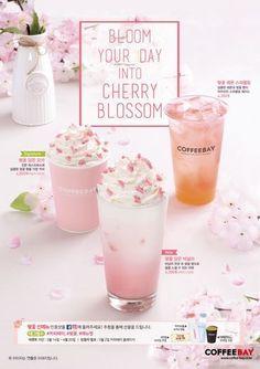 카페 창업 커피베이의 시그니처 벚꽃 신메뉴 3종 출시 Food Graphic Design, Food Poster Design, Food Menu Design, Fun Drinks, Yummy Drinks, Bubble Milk Tea, Drink Photo, Drinking Quotes, Coffee Poster