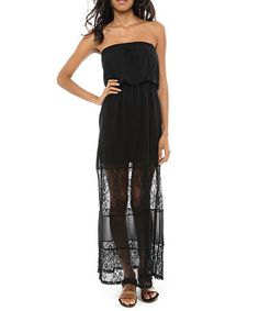 Love this Black Semi-Sheer Lace Strapless Maxi dress on #zulily! #zulilyfinds