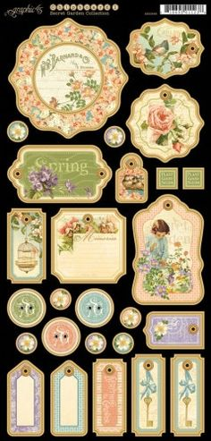 Graphic 45  Secret Garden  Chipboard Die-cuts 1 by CreationsToGo