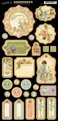 Graphic 45 Secret Garden Chipboard 1. $5.39, via Etsy.