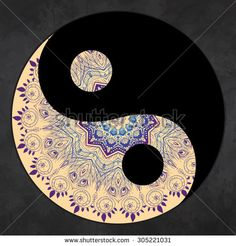 Ornament card with mandala Yin Yang. Geometric circle element made in vector. Perfect cards
