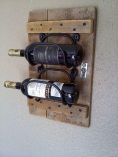 Hanging Wooden Wine Rack in vintage wood.looks cool but only holds 2 bottles? Vintage Wine Rack, Vintage Wood, Diy Arts And Crafts, Wood Crafts, Wall Hanging Wine Rack, Bottle Rack, Man Cave Bar, Wine Racks, Wooden Pallets