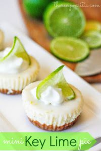 Mini Key Lime Pie  Ingredients: 1 1/2 cups graham cracker crumbs, crushed (about 12 squares) 3 T Sugar 3/4 stuck butter (about 1/3 cup) 3 egg whites beaten 2 (14 oz) cans sweetened condensed milk 3/4 cup lime juice 1 T Lime zest 1/3 cup nonfat greek yogurt