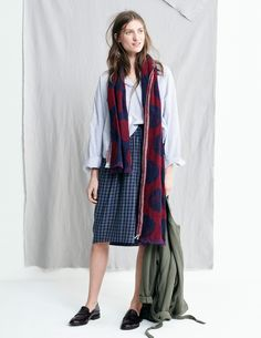 madewell fall 2015 #fallmadewell. blue buttondown, oversized dotted red and navy scarf, leather loafer slides, green belted jacket.