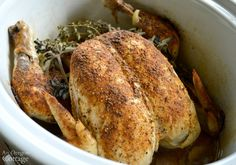 Five minutes, basic spices, a whole chicken and a slow cooker are all you need for the most amazingly easy, moist rotisserie-chicken for dinner tonight.