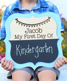 Look at this Blue 'First Day' Personalized Chalkboard Sign on #zulily today!