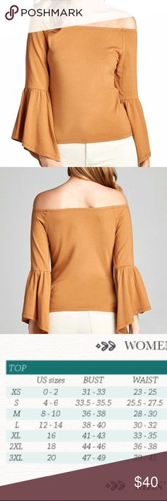 NEW! S,M,L Bell Sleeve Off Shoulder Blouse Knit blouse with bell sleeves. Color is light mustard. Dress up or down. Cute fall color. Knit, rayon spandex blend. Cold Shoulder Blouse. styleinthebag Tops Blouses
