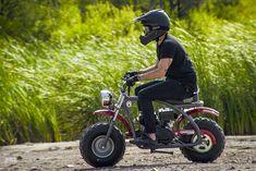 Cheap thrills: Racing custom Coleman mini bikes with Icon Custom Mini Bike, Custom Bikes, Mini Motorbike, Race Night, Go Kart Frame, Welding And Fabrication, Riding Gear, Racing, Tutorials