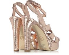 e622ad9c4e1f6d Michael Kors Winona Rose Gold Reptile Printed Leather Platform Sandal 5M US  at FORZIERI Metallic Prints