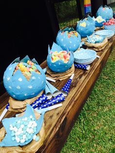 Dinasour themed birthday party snacks and paper maché dinasour eggs