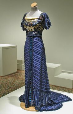 Evening Dress, 1909, Callot Soeurs, Paris, Silk mesh embellished with celluloid sequins and paste gems, Gregg Museum of Art  Design, 2003.0...